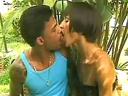 Hot tranny makes oralsex