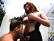 Busty shemale n guy suck