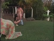 Hot tgirl fucking with dude in park