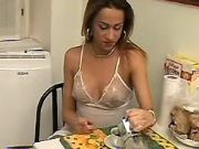 Nice shemale enjoys oral in kitchen