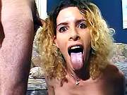 Blond shemale slut sucks thick cock