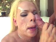 Tranny spread cum on face after sex
