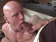 Bloke does blowjob to large shemale