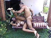Sucking and fucking big cock outdoors